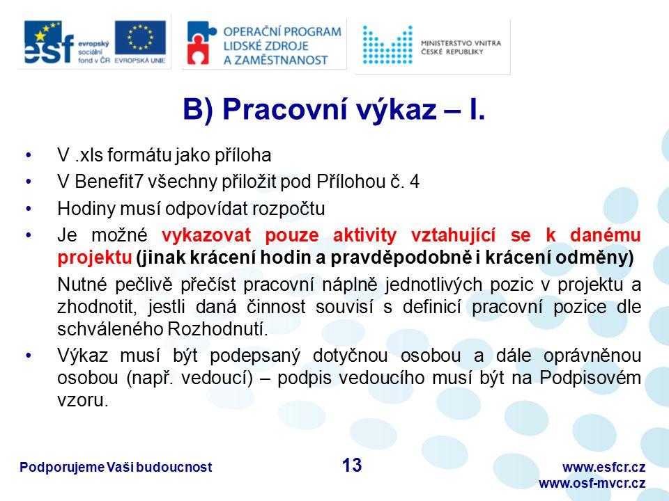 Podporujeme Vaši budoucnostwww.esfcr.cz www.osf-mvcr.cz B) Pracovní výkaz – I. V.xls formátu jako příloha V Benefit7 všechny přiložit pod Přílohou č.