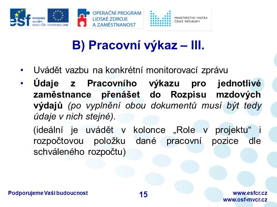 Podporujeme Vaši budoucnostwww.esfcr.cz www.osf-mvcr.cz B) Pracovní výkaz – III. Uvádět vazbu na konkrétní monitorovací zprávu Údaje z Pracovního výka