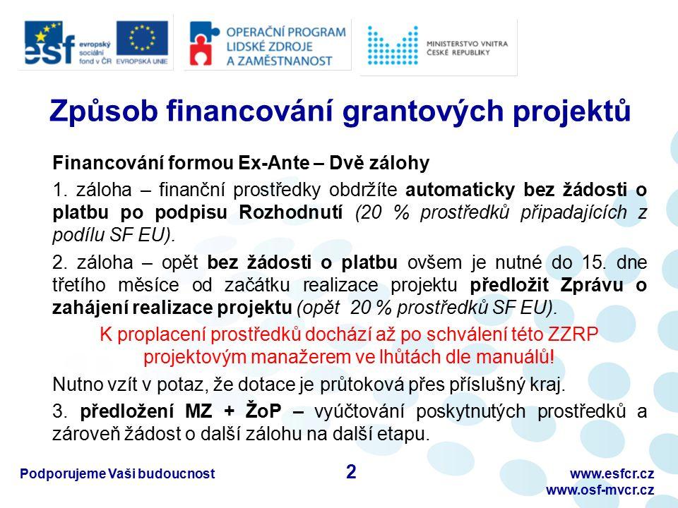 Podporujeme Vaši budoucnostwww.esfcr.cz www.osf-mvcr.cz Způsob financování grantových projektů Financování formou Ex-Ante – Dvě zálohy 1. záloha – fin