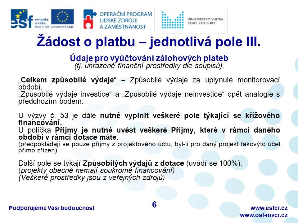 Časté chyby – doporučení III.!!. Zajištění oddělené účetní evidence pro projekt !!.