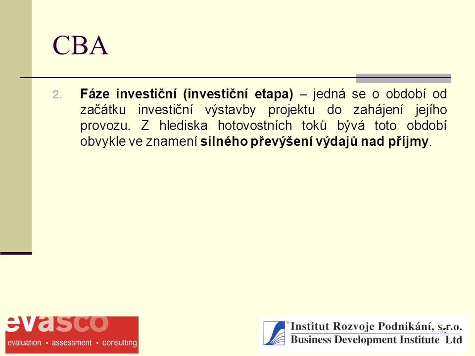 10 CBA 2. Fáze investiční (investiční etapa) – jedná se o období od začátku investiční výstavby projektu do zahájení jejího provozu. Z hlediska hotovo