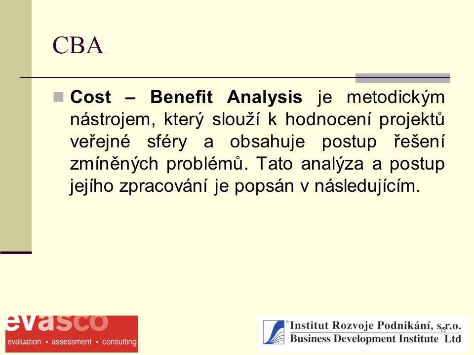 13 CBA Cost – Benefit Analysis je metodickým nástrojem, který slouží k hodnocení projektů veřejné sféry a obsahuje postup řešení zmíněných problémů. T