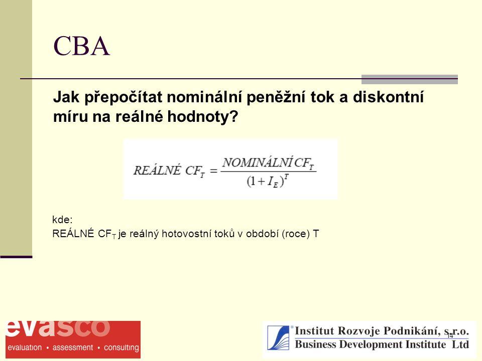14 CBA Jak přepočítat nominální peněžní tok a diskontní míru na reálné hodnoty? kde: REÁLNÉ CF T je reálný hotovostní toků v období (roce) T