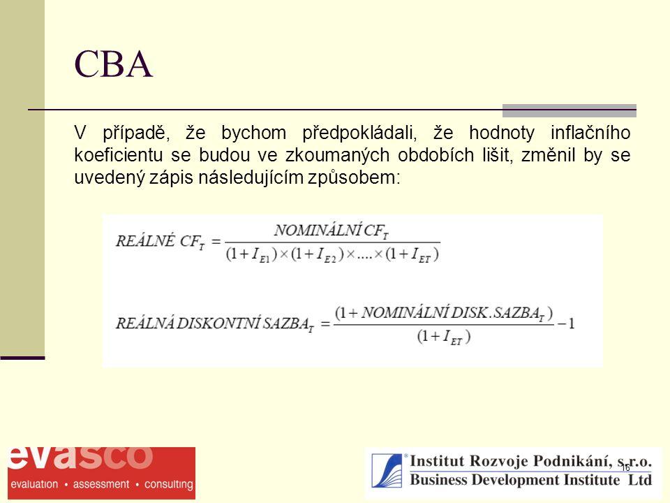 16 CBA V případě, že bychom předpokládali, že hodnoty inflačního koeficientu se budou ve zkoumaných obdobích lišit, změnil by se uvedený zápis následujícím způsobem: