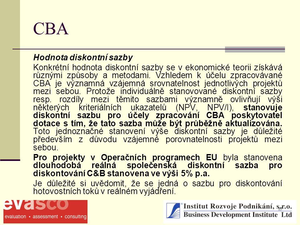 17 CBA Hodnota diskontní sazby Konkrétní hodnota diskontní sazby se v ekonomické teorii získává různými způsoby a metodami. Vzhledem k účelu zpracováv