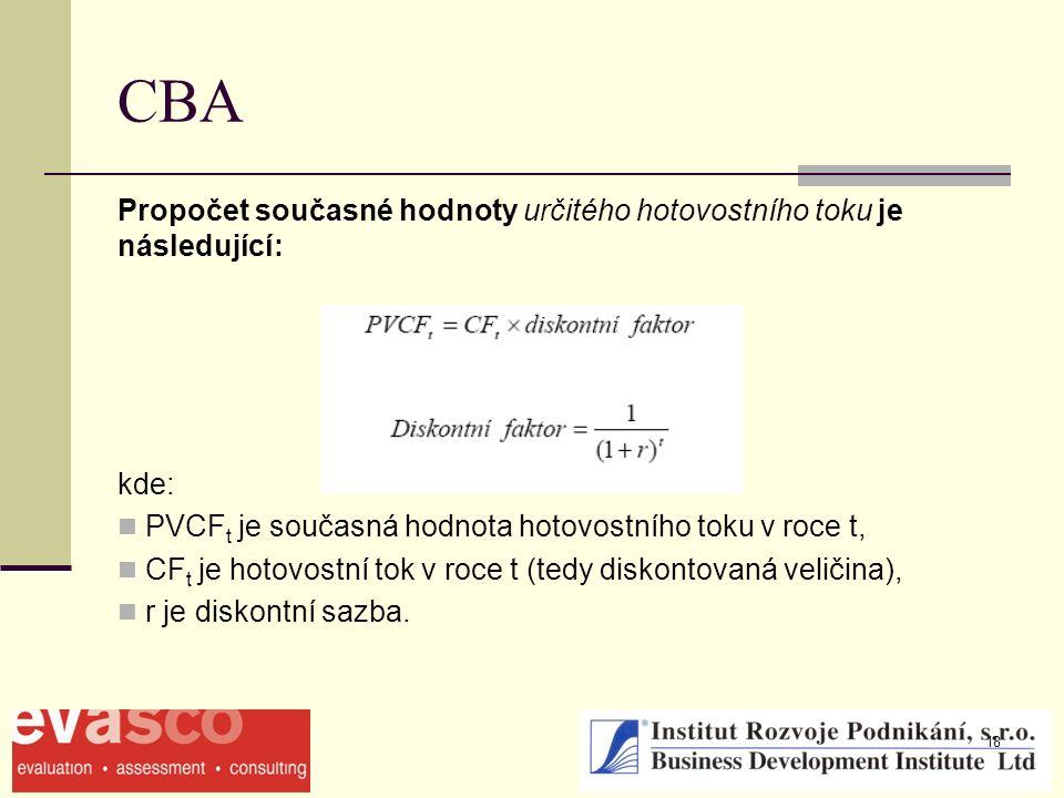 18 CBA Propočet současné hodnoty určitého hotovostního toku je následující: kde: PVCF t je současná hodnota hotovostního toku v roce t, CF t je hotovostní tok v roce t (tedy diskontovaná veličina), r je diskontní sazba.