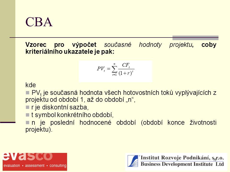 """19 CBA Vzorec pro výpočet současné hodnoty projektu, coby kriteriálního ukazatele je pak: kde PV t je současná hodnota všech hotovostních toků vyplývajících z projektu od období 1, až do období """"n , r je diskontní sazba, t symbol konkrétního období, n je poslední hodnocené období (období konce životnosti projektu)."""