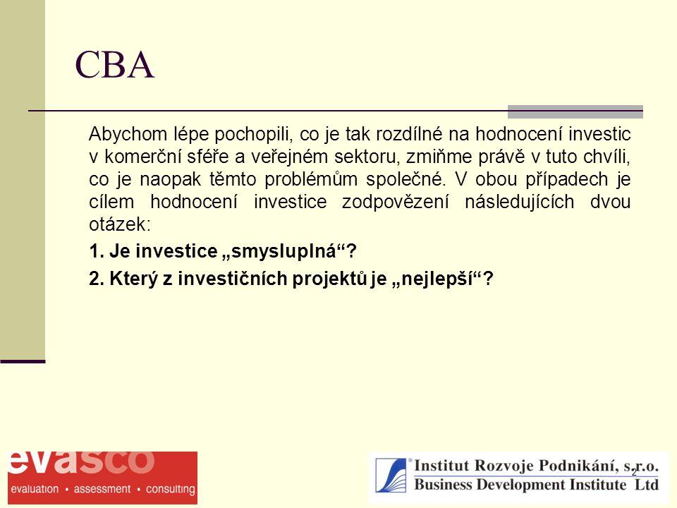 2 CBA Abychom lépe pochopili, co je tak rozdílné na hodnocení investic v komerční sféře a veřejném sektoru, zmiňme právě v tuto chvíli, co je naopak t