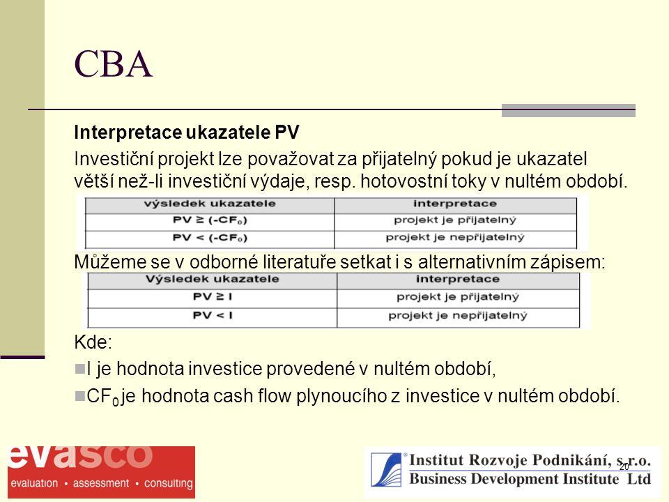 20 CBA Interpretace ukazatele PV Investiční projekt lze považovat za přijatelný pokud je ukazatel větší než-li investiční výdaje, resp. hotovostní tok