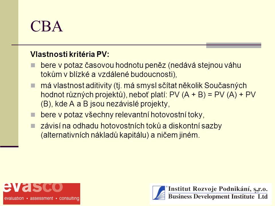 21 CBA Vlastnosti kritéria PV: bere v potaz časovou hodnotu peněz (nedává stejnou váhu tokům v blízké a vzdálené budoucnosti), má vlastnost aditivity (tj.