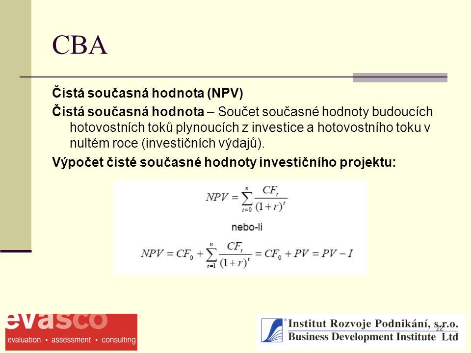 22 CBA Čistá současná hodnota (NPV) Čistá současná hodnota – Součet současné hodnoty budoucích hotovostních toků plynoucích z investice a hotovostního toku v nultém roce (investičních výdajů).