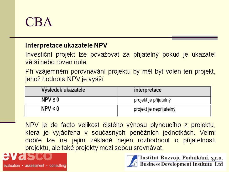 24 CBA Interpretace ukazatele NPV Investiční projekt lze považovat za přijatelný pokud je ukazatel větší nebo roven nule. Při vzájemném porovnávání pr