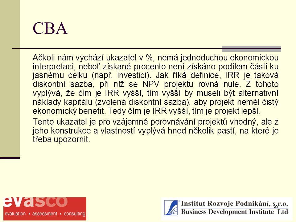 29 CBA Ačkoli nám vychází ukazatel v %, nemá jednoduchou ekonomickou interpretaci, neboť získané procento není získáno podílem části ku jasnému celku (např.
