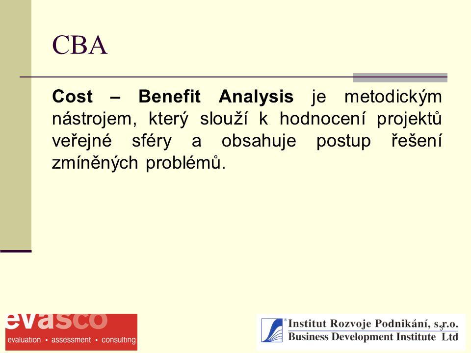 3 CBA Cost – Benefit Analysis je metodickým nástrojem, který slouží k hodnocení projektů veřejné sféry a obsahuje postup řešení zmíněných problémů.