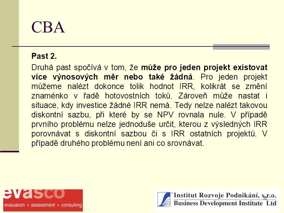 32 CBA Past 2. Druhá past spočívá v tom, že může pro jeden projekt existovat více výnosových měr nebo také žádná. Pro jeden projekt můžeme nalézt doko