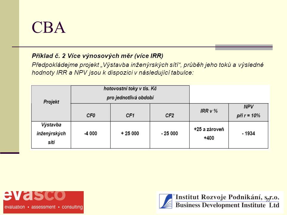 """33 CBA Příklad č. 2 Více výnosových měr (více IRR) Předpokládejme projekt """"Výstavba inženýrských sítí"""", průběh jeho toků a výsledné hodnoty IRR a NPV"""