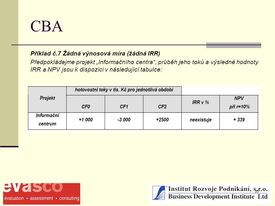 """35 CBA Příklad č.7 Žádná výnosová míra (žádná IRR) Předpokládejme projekt """"Informačního centra , průběh jeho toků a výsledné hodnoty IRR a NPV jsou k dispozici v následující tabulce:"""