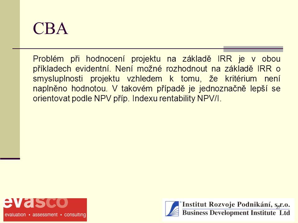 37 CBA Problém při hodnocení projektu na základě IRR je v obou příkladech evidentní. Není možné rozhodnout na základě IRR o smysluplnosti projektu vzh