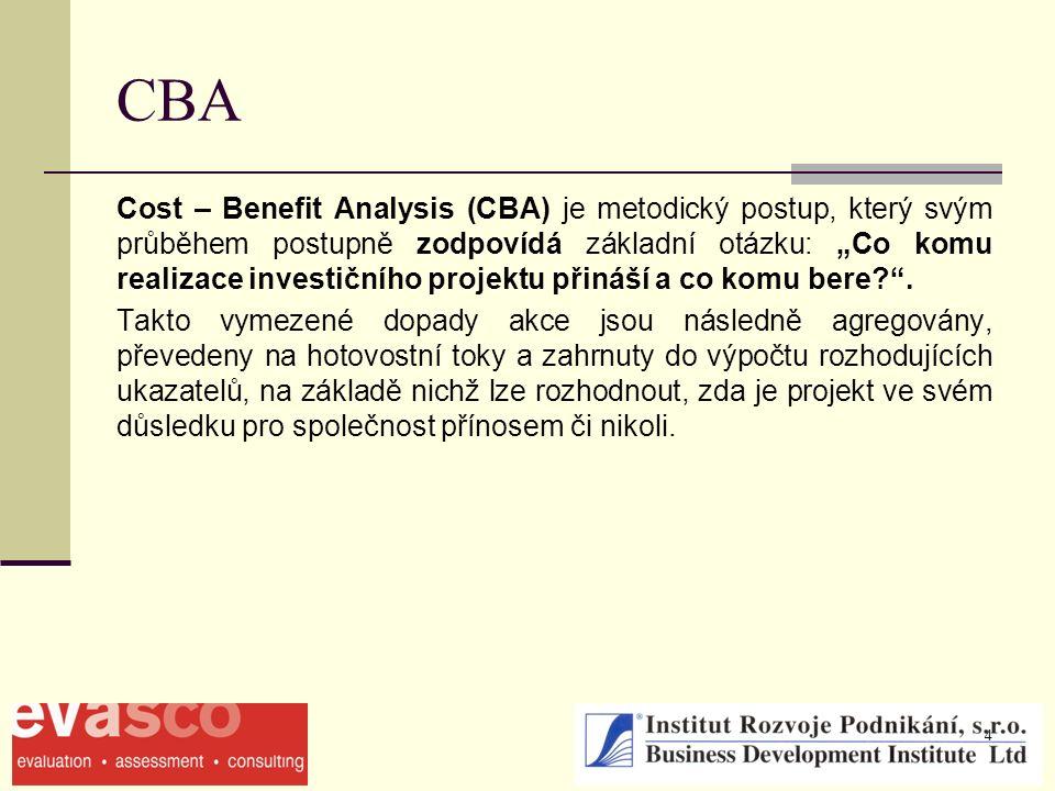 """4 CBA Cost – Benefit Analysis (CBA) je metodický postup, který svým průběhem postupně zodpovídá základní otázku: """"Co komu realizace investičního projektu přináší a co komu bere ."""