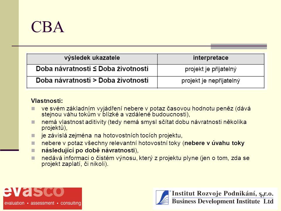 41 CBA Vlastnosti: ve svém základním vyjádření nebere v potaz časovou hodnotu peněz (dává stejnou váhu tokům v blízké a vzdálené budoucnosti), nemá vl