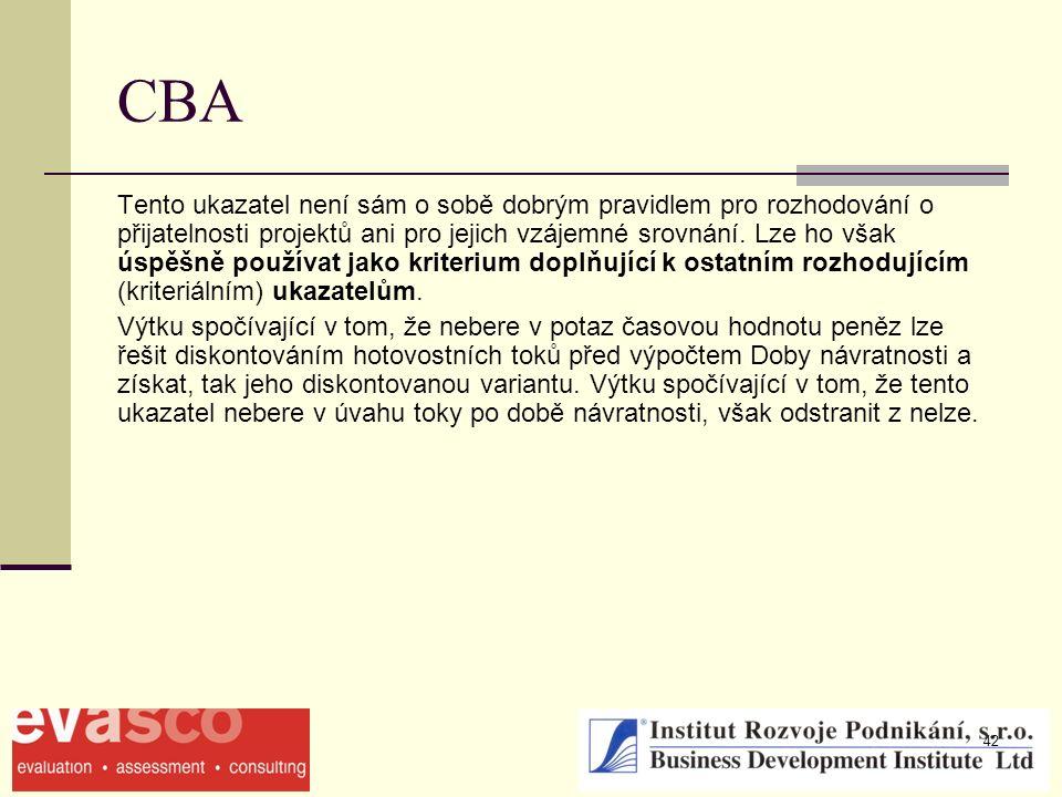 42 CBA Tento ukazatel není sám o sobě dobrým pravidlem pro rozhodování o přijatelnosti projektů ani pro jejich vzájemné srovnání. Lze ho však úspěšně