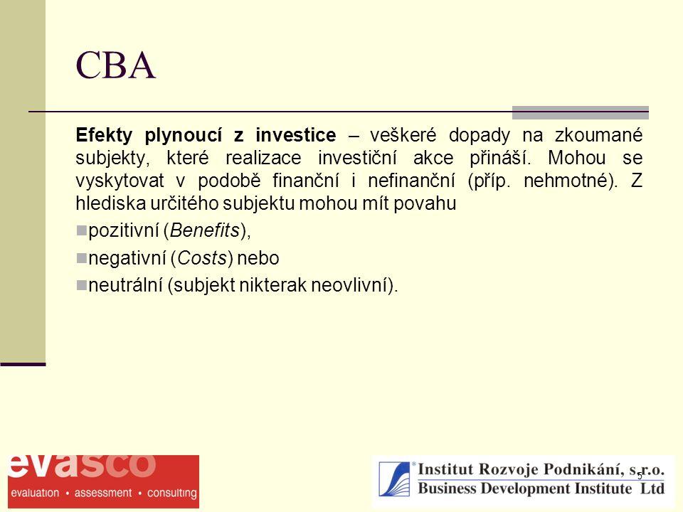 5 CBA Efekty plynoucí z investice – veškeré dopady na zkoumané subjekty, které realizace investiční akce přináší. Mohou se vyskytovat v podobě finančn