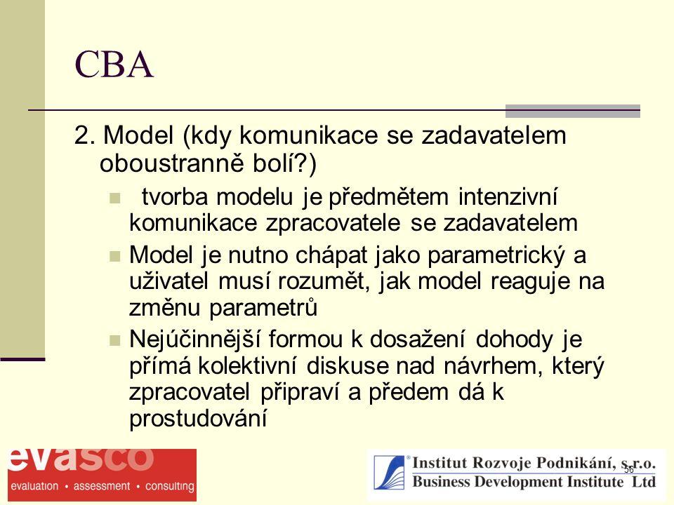 56 CBA 2. Model (kdy komunikace se zadavatelem oboustranně bolí?) tvorba modelu je předmětem intenzivní komunikace zpracovatele se zadavatelem Model j