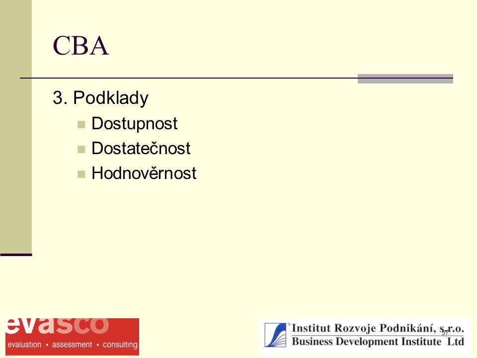 57 CBA 3. Podklady Dostupnost Dostatečnost Hodnověrnost