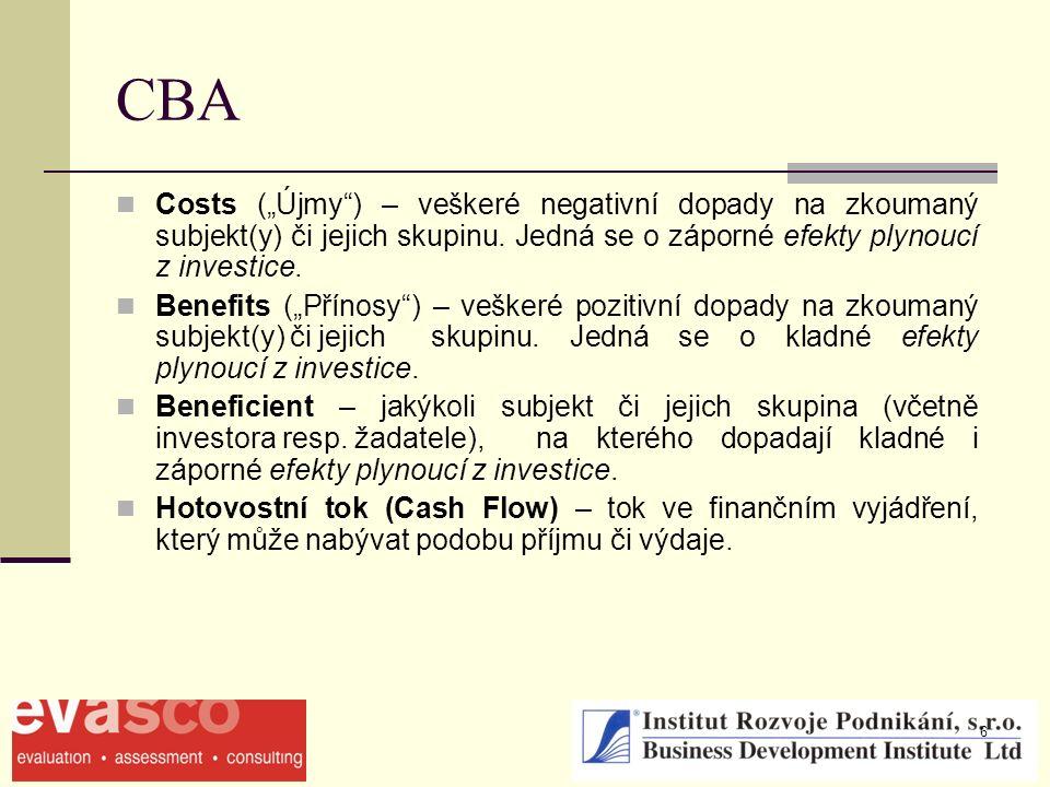"""6 CBA Costs (""""Újmy"""") – veškeré negativní dopady na zkoumaný subjekt(y) či jejich skupinu. Jedná se o záporné efekty plynoucí z investice. Benefits (""""P"""