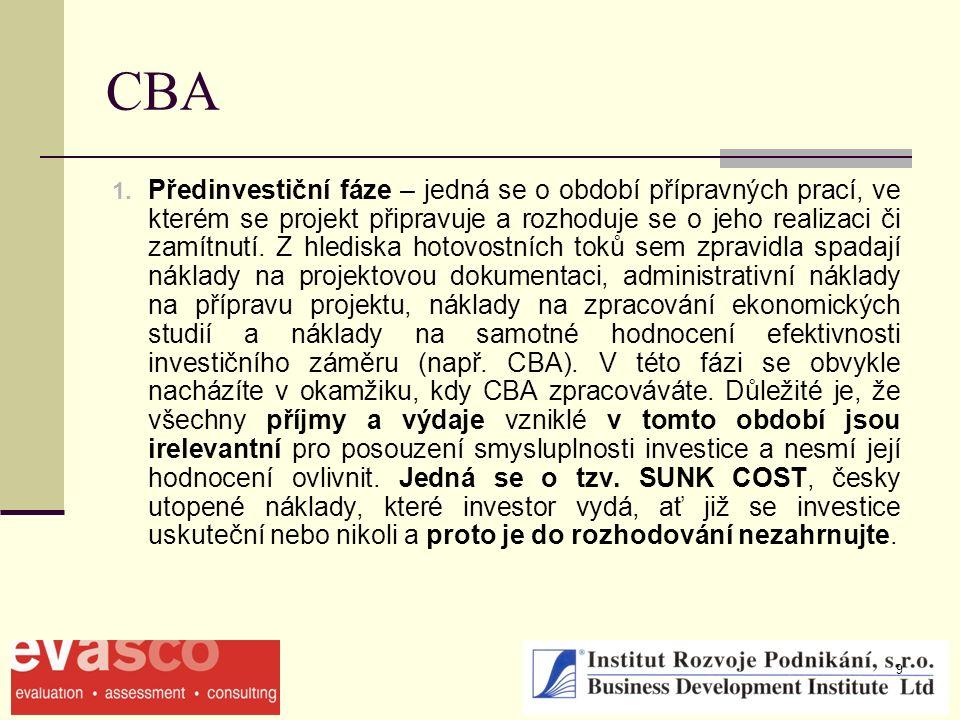 9 CBA 1. Předinvestiční fáze – jedná se o období přípravných prací, ve kterém se projekt připravuje a rozhoduje se o jeho realizaci či zamítnutí. Z hl
