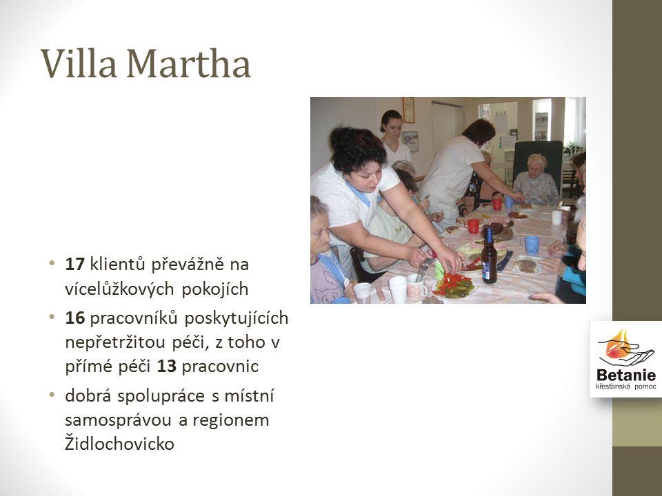 Villa Martha 17 klientů převážně na vícelůžkových pokojích 16 pracovníků poskytujících nepřetržitou péči, z toho v přímé péči 13 pracovnic dobrá spolupráce s místní samosprávou a regionem Židlochovicko
