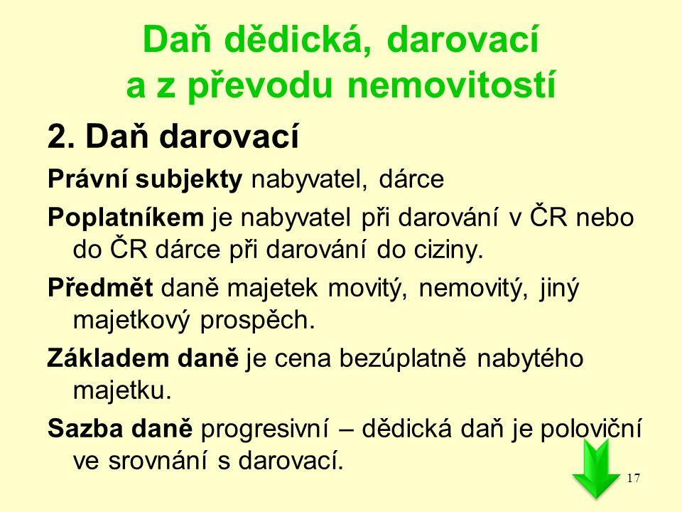 Daň dědická, darovací a z převodu nemovitostí 2. Daň darovací Právní subjekty nabyvatel, dárce Poplatníkem je nabyvatel při darování v ČR nebo do ČR d