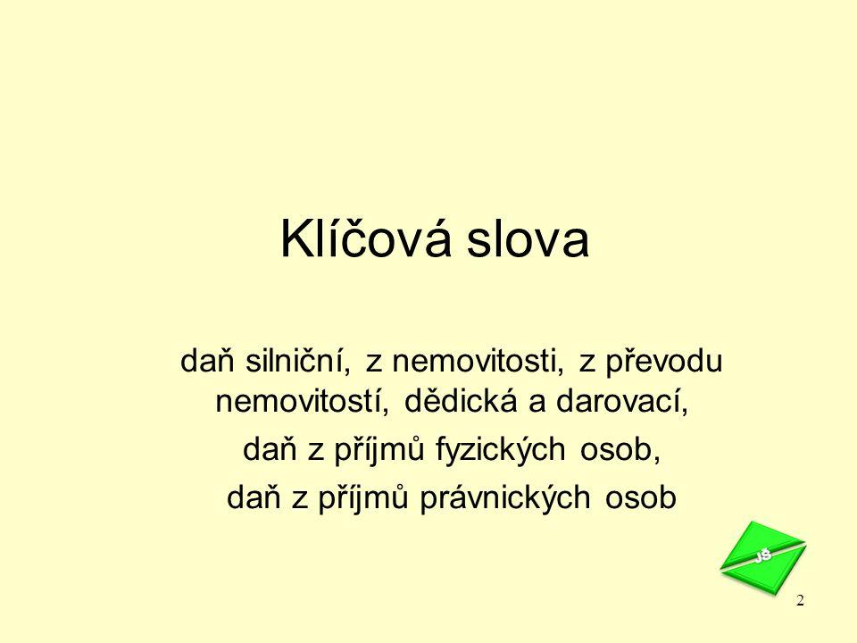 Právní úprava Zákon č.362/2009 Sb., v oblasti majetkových daní Zákon č.