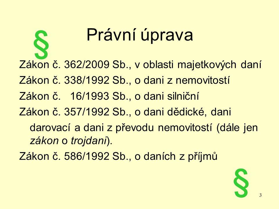 Právní úprava Zákon č. 362/2009 Sb., v oblasti majetkových daní Zákon č.