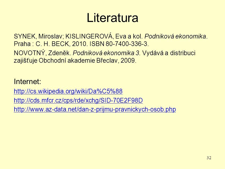 Literatura SYNEK, Miroslav; KISLINGEROVÁ, Eva a kol.