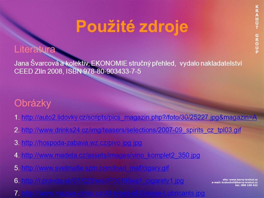 Použité zdroje Literatura Jana Švarcová a kolektiv, EKONOMIE stručný přehled, vydalo nakladatelství CEED Zlín 2008, ISBN 978-80-903433-7-5 Obrázky 1.