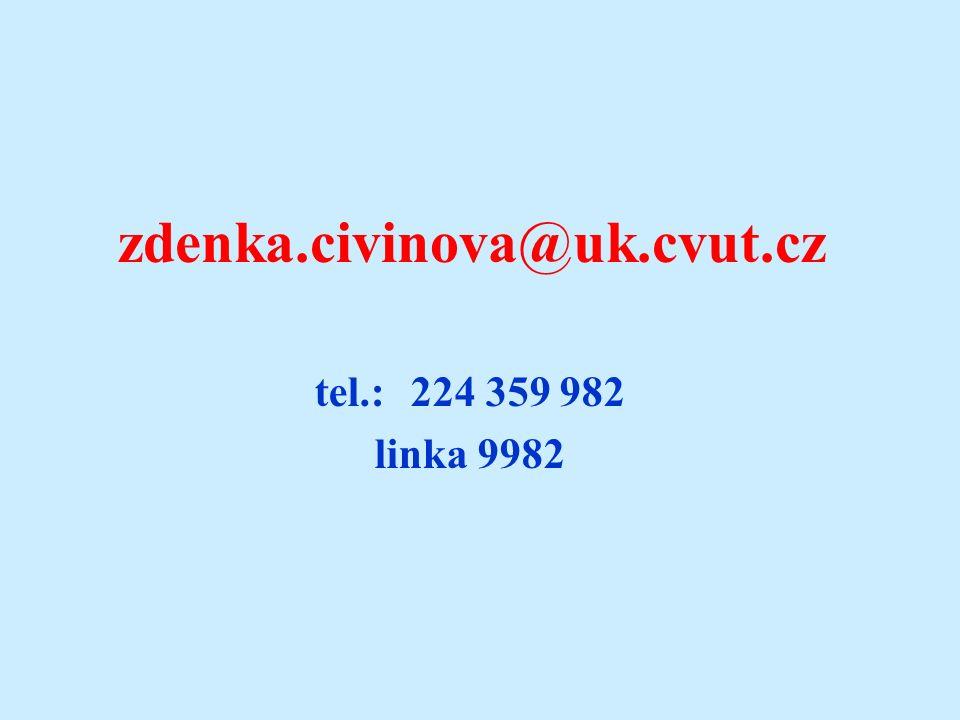 zdenka.civinova@uk.cvut.cz tel.: 224 359 982 linka 9982