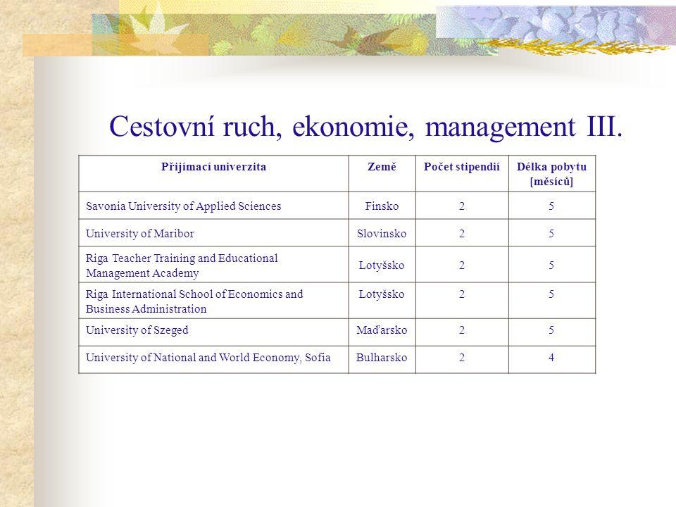 Cestovní ruch, ekonomie, management III.