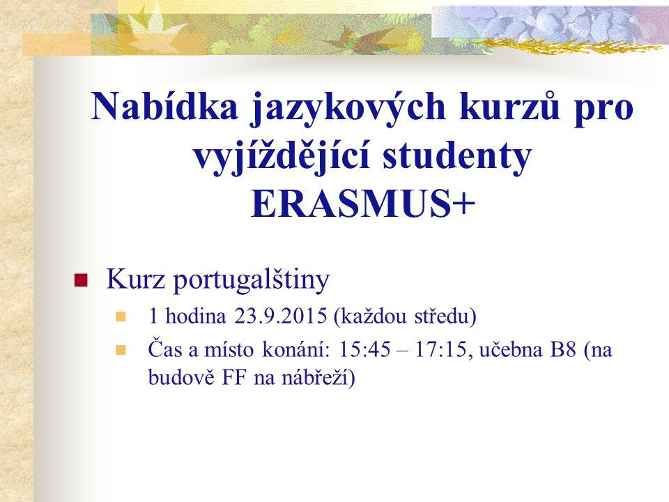 Kontakt Michaela Plašilová michaela.plasilova.2@uhk.cz Úřední hodiny http://fim.uhk.cz/mobility2/erasmus/studijni-pobyty/navody-a-rady/pred- odjezdem/zivotopis Po13:00 – 15:00 Út - Čt8:00 – 11:0013:00 – 15:00 Pá8:00 – 11:00
