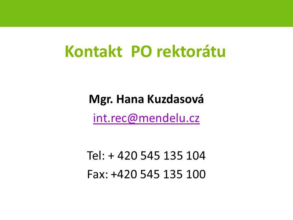 Kontakt PO rektorátu Mgr.