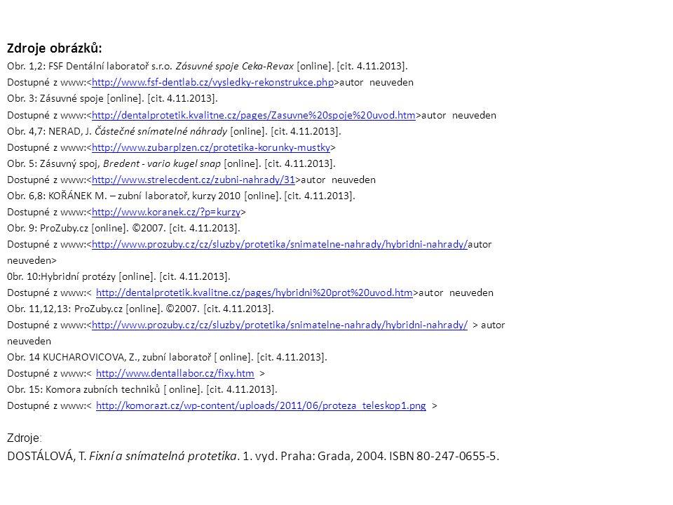 Zdroje obrázků: Obr. 1,2: FSF Dentální laboratoř s.r.o.