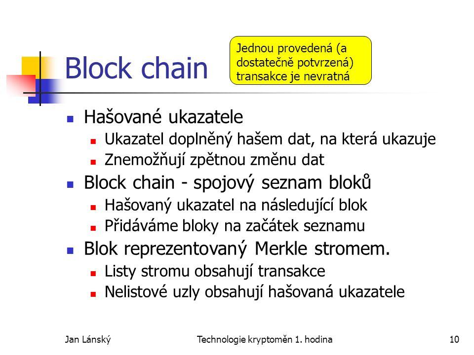 Jan LánskýTechnologie kryptoměn 1. hodina10 Block chain Hašované ukazatele Ukazatel doplněný hašem dat, na která ukazuje Znemožňují zpětnou změnu dat