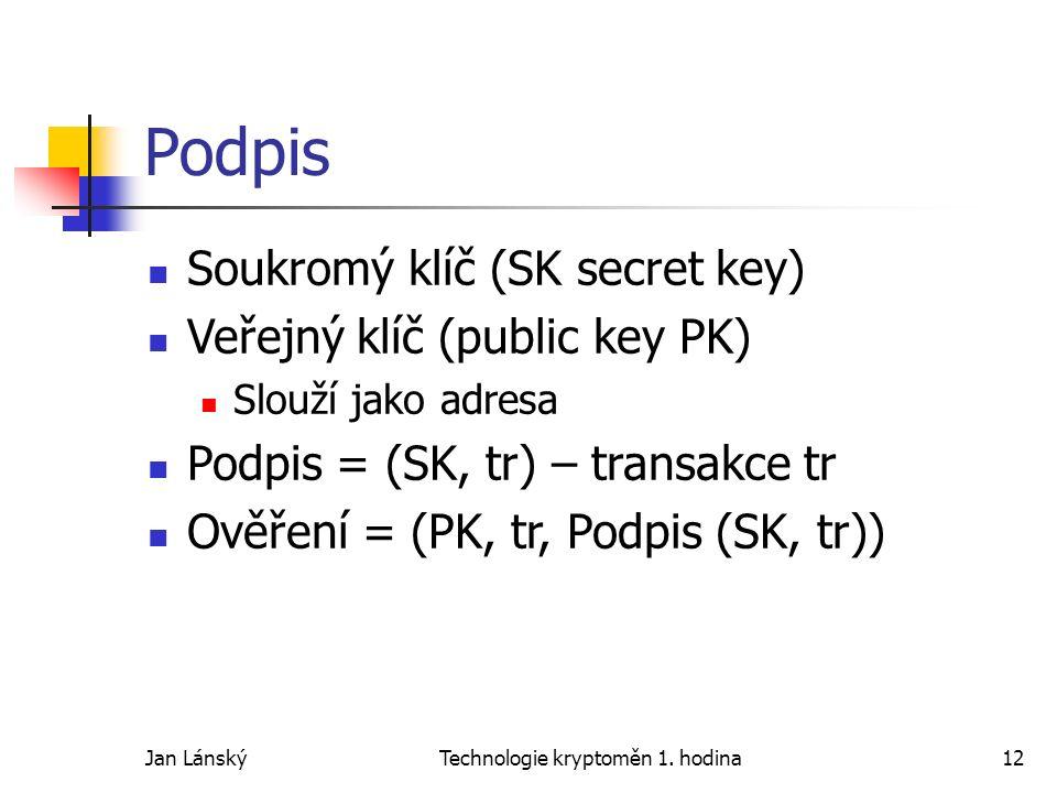 Jan LánskýTechnologie kryptoměn 1. hodina12 Podpis Soukromý klíč (SK secret key) Veřejný klíč (public key PK) Slouží jako adresa Podpis = (SK, tr) – t