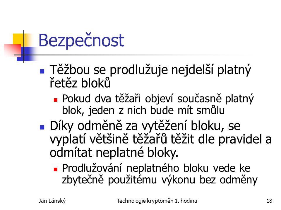 Jan LánskýTechnologie kryptoměn 1. hodina18 Bezpečnost Těžbou se prodlužuje nejdelší platný řetěz bloků Pokud dva těžaři objeví současně platný blok,