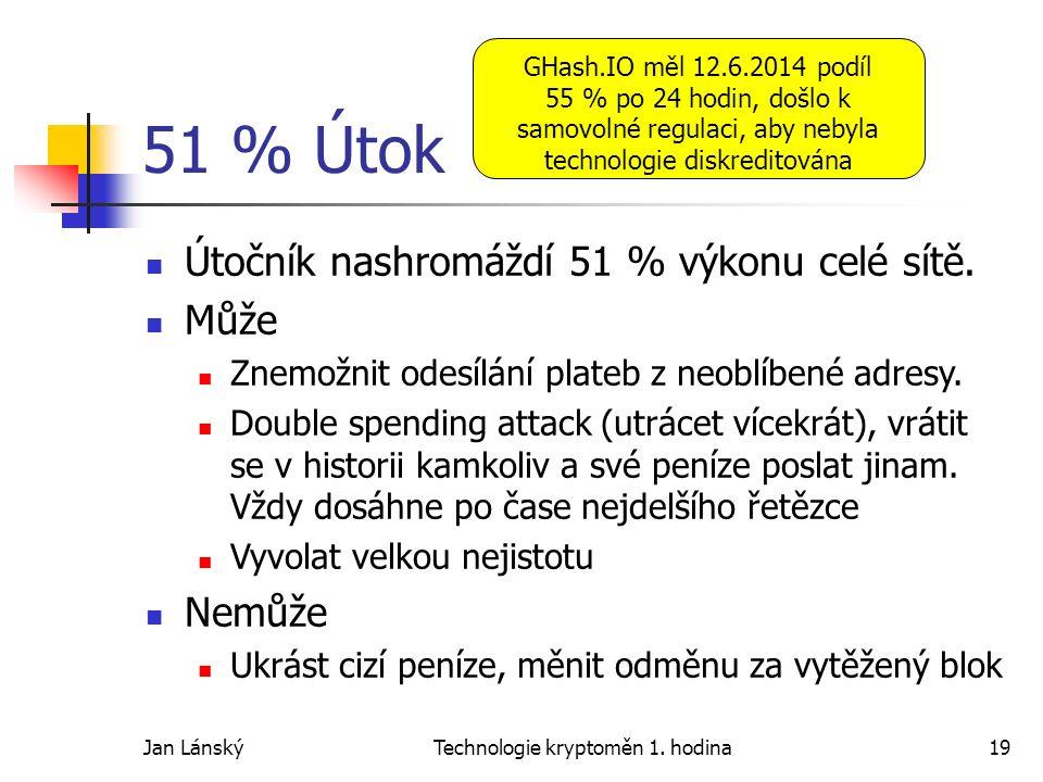 Jan LánskýTechnologie kryptoměn 1. hodina19 51 % Útok Útočník nashromáždí 51 % výkonu celé sítě. Může Znemožnit odesílání plateb z neoblíbené adresy.