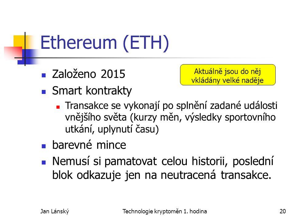Jan LánskýTechnologie kryptoměn 1. hodina20 Ethereum (ETH) Založeno 2015 Smart kontrakty Transakce se vykonají po splnění zadané události vnějšího svě