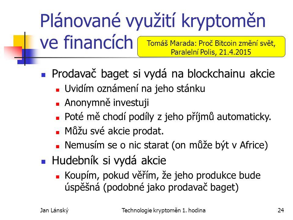 Jan LánskýTechnologie kryptoměn 1. hodina24 Plánované využití kryptoměn ve financích Prodavač baget si vydá na blockchainu akcie Uvidím oznámení na je