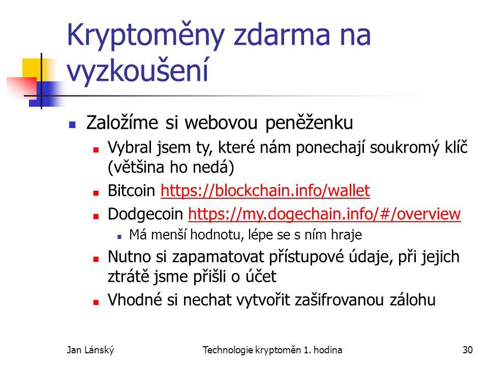 Jan LánskýTechnologie kryptoměn 1. hodina30 Kryptoměny zdarma na vyzkoušení Založíme si webovou peněženku Vybral jsem ty, které nám ponechají soukromý