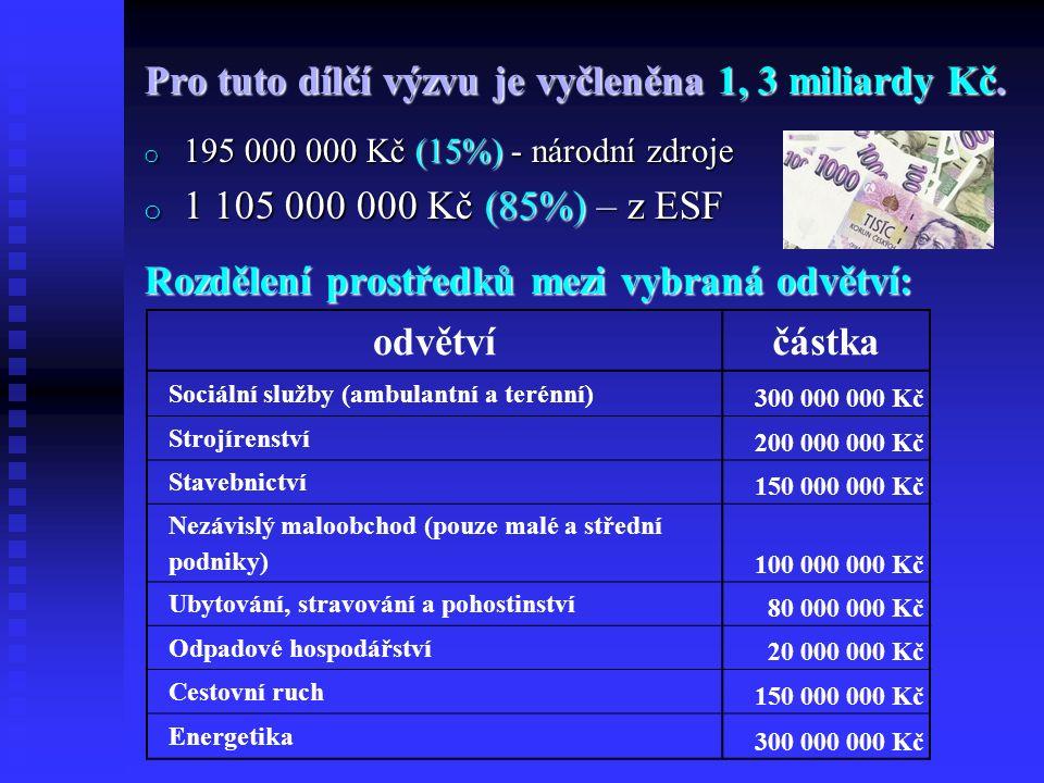 Pro tuto dílčí výzvu je vyčleněna 1, 3 miliardy Kč. o 195 000 000 Kč (15%) - národní zdroje o 1 105 000 000 Kč (85%) – z ESF Rozdělení prostředků mezi