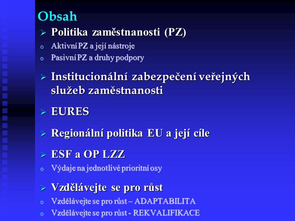 Obsah  Politika zaměstnanosti (PZ) o Aktivní PZ a její nástroje o Pasivní PZ a druhy podpory  Institucionální zabezpečení veřejných služeb zaměstnanosti  EURES  Regionální politika EU a její cíle  ESF a OP LZZ o Výdaje na jednotlivé prioritní osy  Vzdělávejte se pro růst o Vzdělávejte se pro růst – ADAPTABILITA o Vzdělávejte se pro růst - REKVALIFIKACE